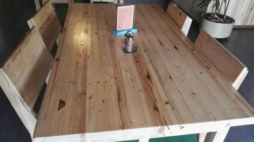 Tables made by volunteers